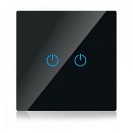 Kettős fekete smart Wi-Fi érintős kapcsoló