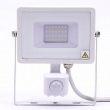 Professzionális fehér LED reflektor 20W mozgásérzékelővel SAMSUNG chipek