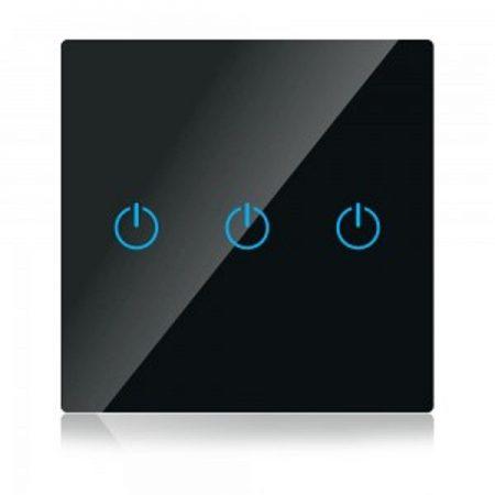 Hármas fekete smart Wi-Fi érintős kapcsoló